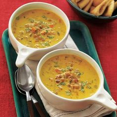 Soup recipes: Curried Lentil Soup 2 tablespoonsvegetable oil  1large onion, finely chopped  1large carrot, finely chopped  1rib celery, finely chopped  3cloves garlic, minced  2 tablespoonscurry powder  6 cupslow-sodium vegetable broth  1 1/2 cupsdried lentils, washed and picked over  Salt and pepper  113.6-oz. can coconut milk  Chopped cilantro, optional