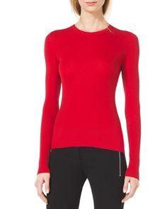 Slim Cashmere Crewneck Sweater, Red - Michael Kors