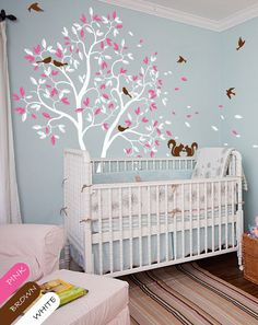 Trend White Tree wall decal Nursery wall mural sticker with cute squirrels and birds whimsical baby room