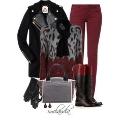 Black and Burgundy, created by imclaudia-1 on Polyvore