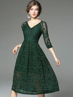 Green V neckline Hollow Out Lace Dress @ Metisu