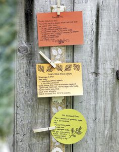 Recipe cards hanging from ribbon with clothespins for your next dinner party so your guests can take one as they leave! Brilliant!
