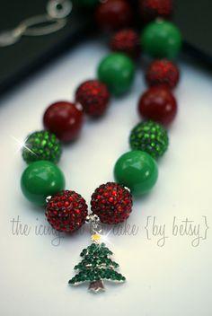 DIY Chunky Necklace Bead Kit - Christmas Tree - Rhinestone Pendant - Make your own chunky necklace