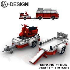 Lego Custom T1 10220 Bus Vespa Anhänger 0