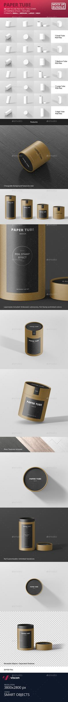 Paper Tube Packaging Mock-Up Bundle. Download here: https://graphicriver.net/item/paper-tube-packaging-mockup-bundle/17051616?ref=ksioks
