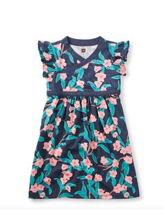 Bloomin' Wrap Neck Dress - The dark backdrop against bold and bright blossoms really makes this floral print pop.