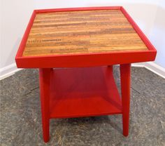 """Great Measures Side Table $145.00  One of a kind up-cycled solid wood mid-century side table.  Hand painted and hand waxed.  Table top is inlaid with stained and varnished vintage yard sticks.    24""""H x 22""""D x 22""""W Dark red antiqued finish with a hand rubbed dark wax.  Top is stained dark walnut in satin finish urethane.  Local pickup only from zip codes 19087 or 08505.  For more information or more pictures email info.Soldier58@gmail.com."""