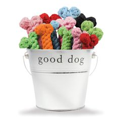 """Keep your pup's teeth and gums clean with our rope dog toys! Ideal dog chew toys for teething puppies, just wet, freeze, and let 'em have at it. Made from 100% recycled cotton yarns, if our Cotton Rope Bone Toy gets dirty, just toss in it the wash. Clean teeth AND clean toys! Small Dog Toy 5.5"""" Large Dog Toy 8.5"""" $0.00"""