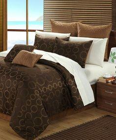 Look at this #zulilyfind! Brown Deco Comforter Set #zulilyfinds