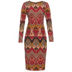 Fitted pencil dress with a striking jacquard pattern inspired by Western blankets and designed exclusively by Lena Hoschek in vibrantly warm shades of golden yellow and red with darker accents. This kneelength style closes at the back with a zip. Ribbon Skirts, Red Rugs, Piece Of Clothing, Pencil Dress, Men Dress, Artisan, High Neck Dress, Long Sleeve, Golden Yellow
