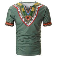 Ericdress African Fashion Color Block Ethnic Straight Mens Dashiki T-shirt - Men's Shirts - Best Mens T Shirts, Mens Tees, Shirt Men, African Men Fashion, Mens Fashion, Ethnic Fashion, Cheap Suits For Men, Dashiki For Men, Chevron