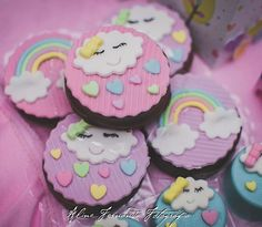 Birhday Cake, Cloud Party, Cake Pops, Rainbow Birthday Party, Baby Cookies, Fondant Toppers, Chocolate Covered Oreos, Sweet Cakes, Mini Cakes
