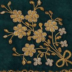 Iranian Embroidery - Goldwork on velvet - Wrapping cloth - Qajar Era