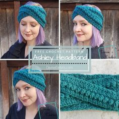crochet headband pattern Get fashionable during those colder months with Ashley Headband crochet pattern free by Divine Debris. Easy to customize, you'll want to wear it everyw Crochet Pattern Free, Crochet Beanie Pattern, Crochet Patterns, Free Crochet Headband Patterns, Scarf Patterns, Easy Crochet Headbands, Crochet Scarves, Crochet Hooks, Baby Headbands