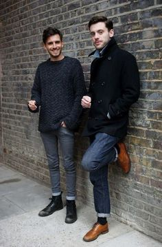 Great chunky jumper on the left, great jeans with a cuff to show off the boots