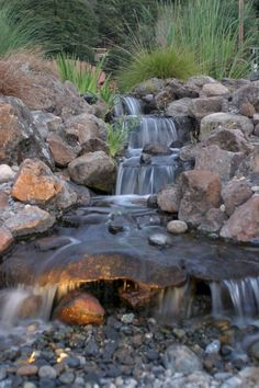 65+ Lovely Backyard Waterfall And Pond Landscaping Ideas #backyard #waterfall #landscapingideas Backyard Pool Landscaping, Landscaping With Rocks, Landscaping Ideas, Backyard Waterfalls, Backyard Ponds, Backyard Ideas, Waterfall Landscaping, Garden Ponds, Backyard Games