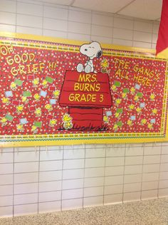 Hallway bulletin board. I will put the kids' pictures on the little flags.