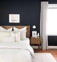 Trending Minimalist Furniture Ideas for 2019 – The minimalist home design is… - Decorating ideas Dark Accent Walls, Dark Walls, Living Room Scandinavian, Scandinavian Style, Minimalist Furniture, Home Decor Bedroom, Bedroom Ideas, Bedroom Designs, Modern Bedroom