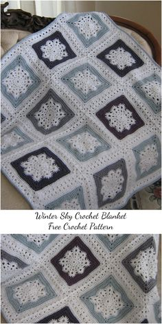 Winter Sky Crochet Blanket – Free Pattern See other ideas and pictures from the category menu…. Faneks healthy and active life ideas Crochet Afghans, Easy Crochet Blanket, Crochet For Beginners Blanket, Crochet Motifs, Afghan Crochet Patterns, Crochet Squares, Crochet Blankets, Granny Squares, Beginner Crochet