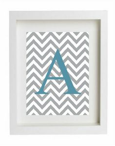 Letter Art Print Personalized Innitial Monogram Chevron Framed Printed Letters  A B C D E F G H I J K L M N O P Q R S T U V W X Y Z. $4.50, via Etsy.