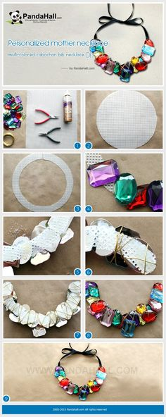 DIY Jewelry: Diversified cabochon pieces rounded up show a glamour preface for this bib neckl