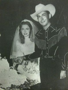 Hank Williams and his 19 year-old bride, Billie Jean Jones Eshliman, at their 1952 wedding, seventy-four days before his death.
