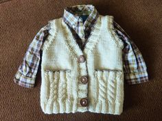 Child's Vest hand knit in acrylic yarn with wooden by CashewCashew