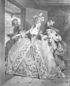 Engraving of Marie Antoinette going to her opera box