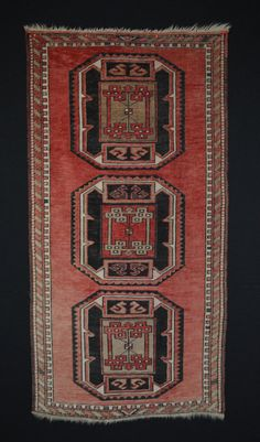 Vintage Caucasian Rug with Peach Hues // Size 3x6 Area Rug or Short Runner