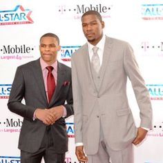 Russell Westbrook AND Kevin Durant in one picture. Yes!! :)) And look how nice they clean up!
