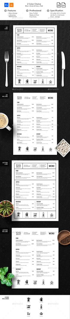 Coffee Menu Minimalist Clean Template PSD, AI Illustrator - A4 and US Letter