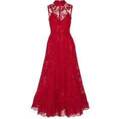 Elie Saab Cotton-blend lace gown found on Polyvore featuring polyvore, fashion, clothing, dresses, gowns, elie saab, maxi dresses, red, floral print maxi dress and red dress