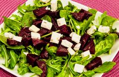 Feta, Beetroot and Winter Leaves - A simple, satisfying salad and you can buy ready cooked beetroots in supermarkets or greengrocers if you want to cut the prep time.