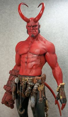 """Here is my 3rd paint up of Narin's amazing Hellboy model kit. Stands 21"""" tall."""