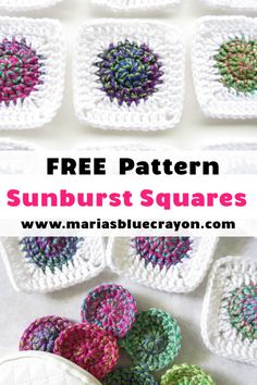 How to Crochet a Sunburst Granny Square - Free Pattern and Video Tutorial - Maria's Blue Crayon Crochet these colorful sunburst granny squares with the free pattern and video tutorial on Maria' Granny Square Crochet Pattern, Crochet Blocks, Crochet Squares, Crochet Granny, Crochet Motif, Crochet Designs, Granny Squares, Crochet Flowers, Granny Granny