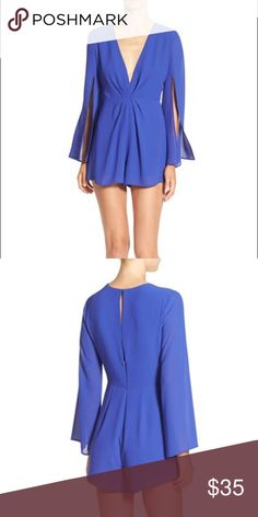 """ASTR V Neck Romper This breezy romper in an electric shade of royal blue turns heads thanks to its plunging neckline, cape-like sleeves and figure-flattering pleated waist. 30"""" length; 2 1/2"""" inseam; 34"""" leg opening (size Medium). Back zip with hidden rouleau-button closure. Deep V-neck. Split bracelet-length sleeves. Lined. 100% polyester. Dry clean. Nordstrom Dresses"""