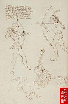 Two archers drawing their bows and a man stabbing a lion, De caelo, De anima (England, 1487)