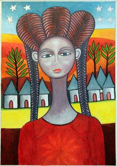 YOUNG WOMAN FROM THE VILLAGE painting by Ephrem Kouakou at Still Life Gallery Ellicott City MD USA