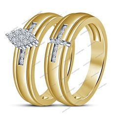 1.30 CT Round D/VVS1 Diamond 925 Silver 14K Yellow Gold Finish Bridal Ring Set #aonedesigns