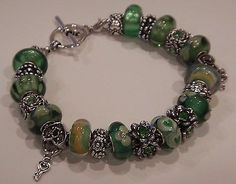 European Style Murano Glass Beads Charm Bracelet Green Yellow Heart