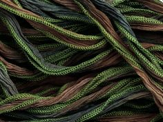 Hand-Dyed Silk Brown/Moss Green