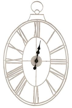 Lex White Wire Metal Clock - Cece & Me - Home and Gifts Metal Clock, Metal Mirror, Mirror Wall Clock, Wall Clocks, Chair And A Half, Diy Clock, French Decor, White Patterns, Vintage Wood