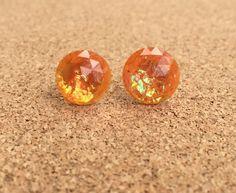 Earrings Orange Fire Opal Resin Boho by SouthernStitchesCo on Etsy