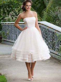 New Strapless Vintage 1950s Tea Length Wedding Dress with Layers Skirt,GDC1141