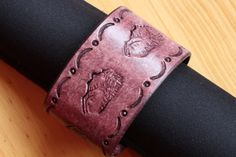 Handmade Mountain Scene Leather Bracelet by Tina's Leather Crafts on Etsy.com.  Repin To Remember.