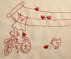 """Winsome stitchery"" @Susan Caron Caron Caron Caron Piasecki @ ThoughtfulSpot.typepad.com I'd skip the buttons. Love the red thread on linen."