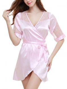 Walkingon #Womens Silk Night Robes Lace #Lingerie #Sleepwear Wholesale