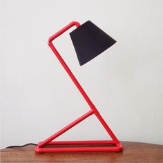 Coloured mini - red - desk lamp - PVC tubing