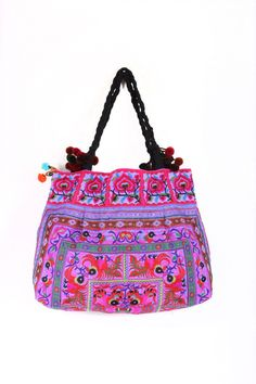 Embroidered Tote Bag Purple Fabric Cotton Pom Pom Strap Thailand