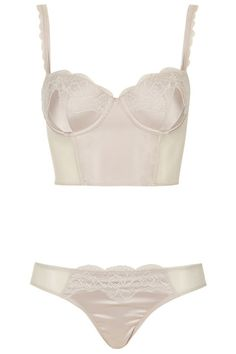 Topshop Satin and Lace Bralet and Mini Knickers, $60; topshop.com